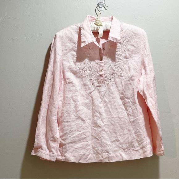 SOFT SURROUNDINGS Women's Pink Linen Sequin Tunic